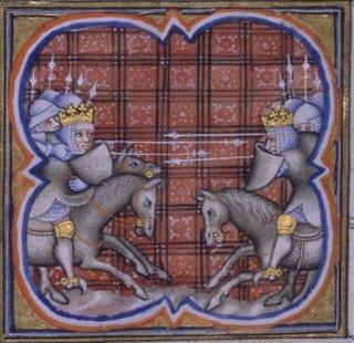 La battaglia di Benevento i una miniatura del secolo XIV