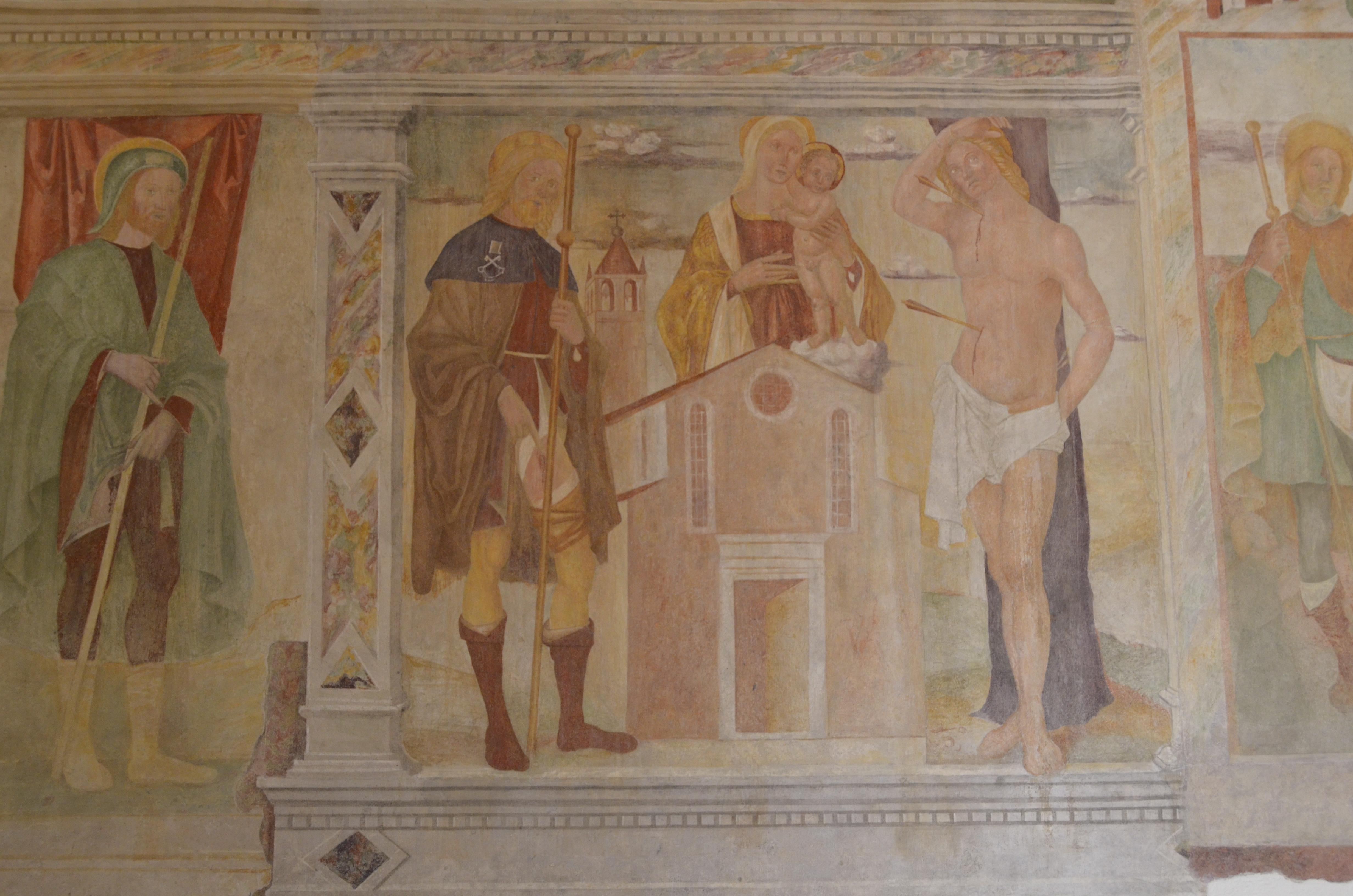 Uno degli affreschi con San Rocco nella chiesa di Bussolengo