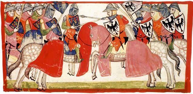 La battaglia di Benevento, miniatura della Nuova Cronica di Giovanni Villani