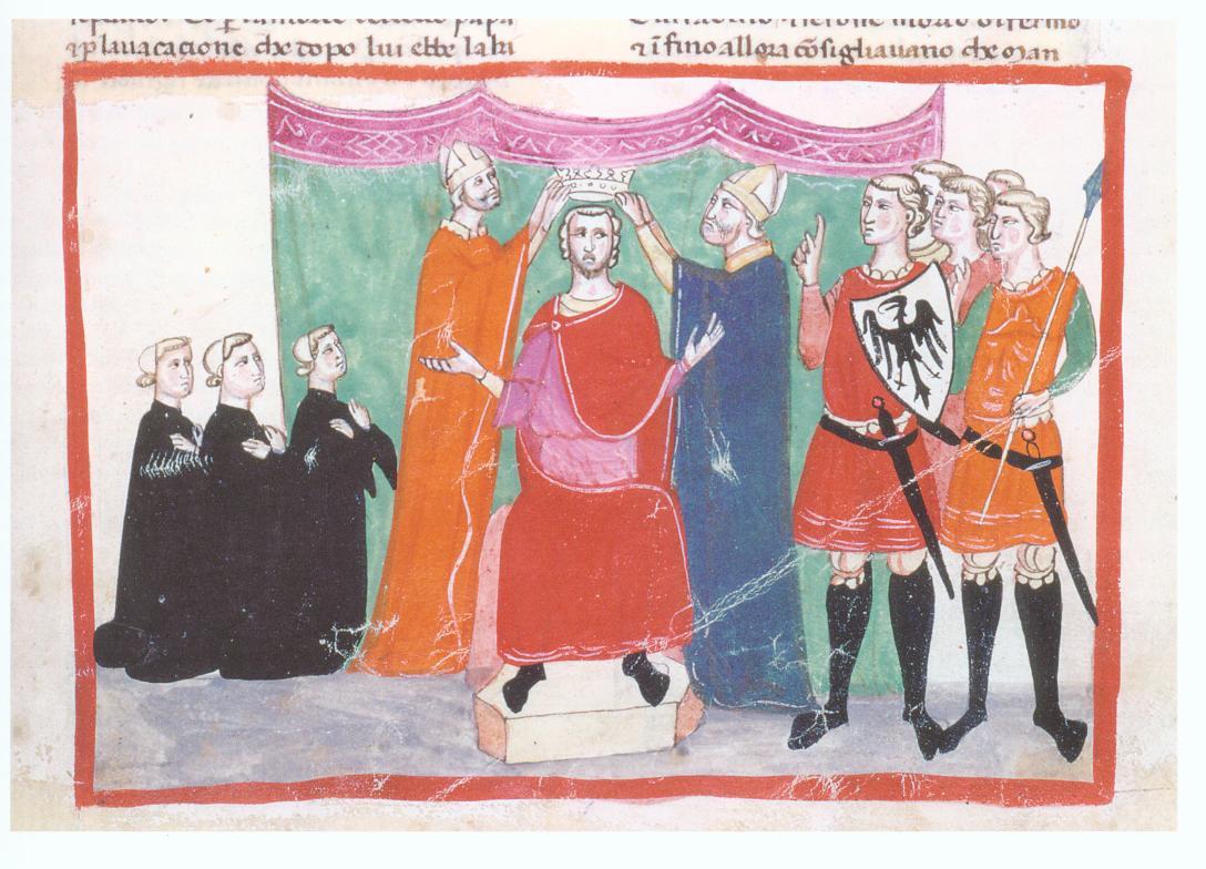 Manfredi incoronato (miniatura della Nuova Cronica di Giovanni Villani)