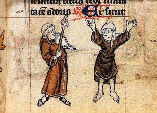 Miniatura dal manoscritto Stowe 17 f. 38, 1300-1325 ca., un frate che suona e una monaca che danza