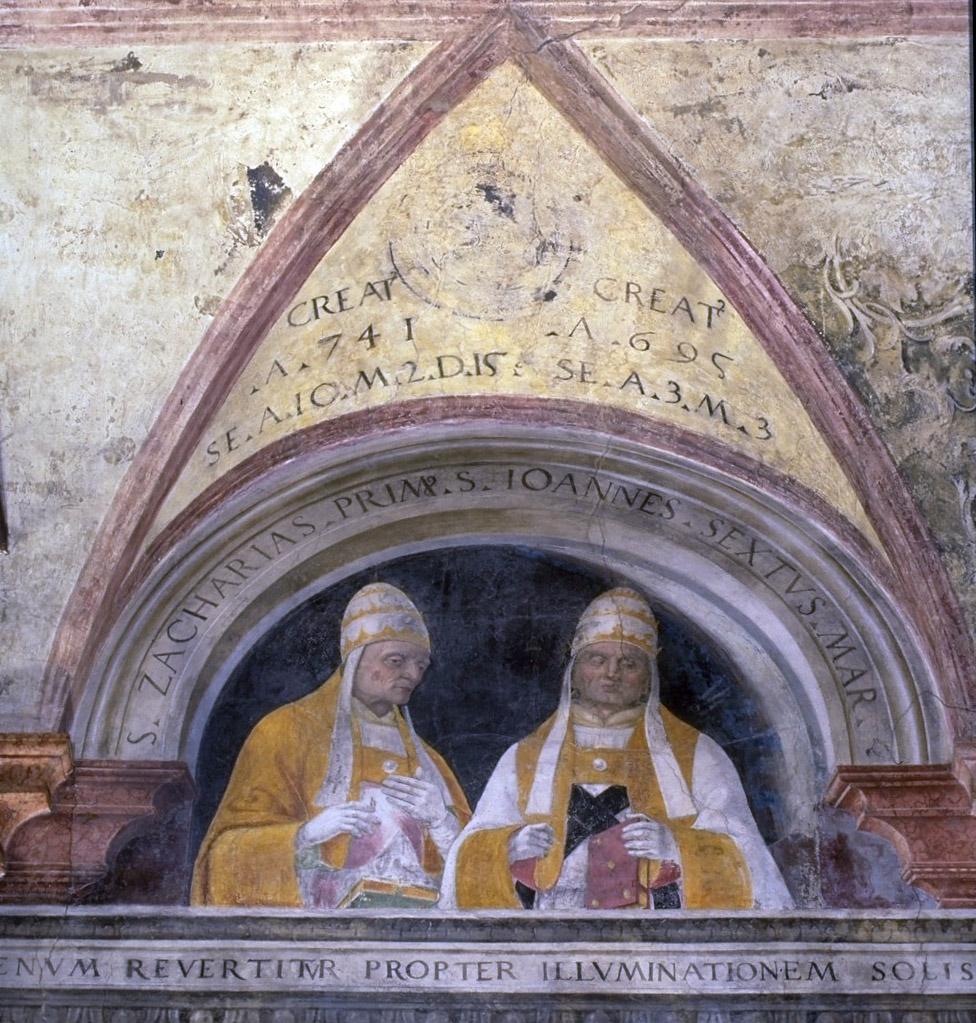 Papa Zaccaria I e papa Giovanni VI in un affresco del XVI secolo
