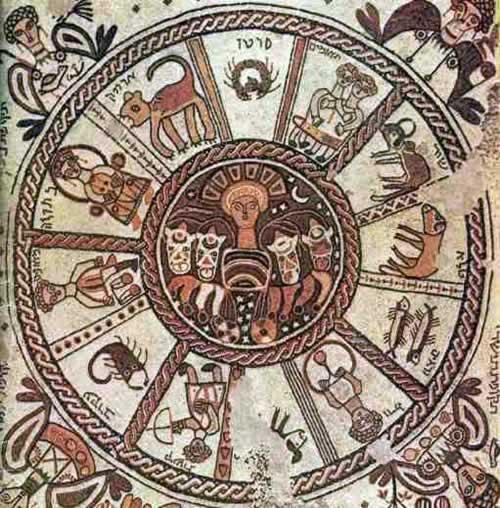 La ruota zodiacale a dodici raggi di un mosaico bizantino