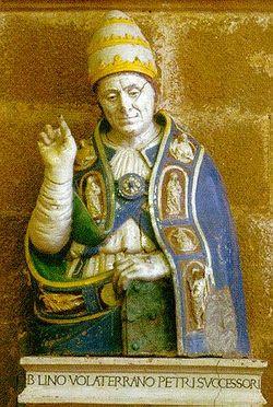 San Lino, primo vescovo ritratto in una terracotta invetriata di Benedetto Buglioni datata 1521