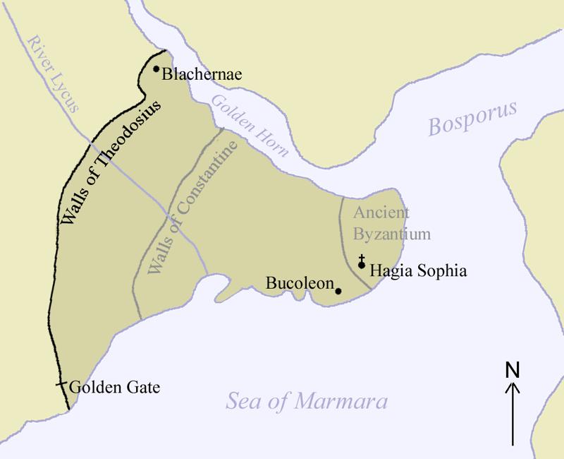 Una mappa di Costantinopoli e delle sue mura