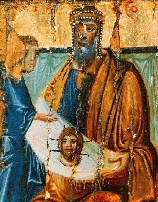 Abgar V regge il mandylion in una icona del secolo X
