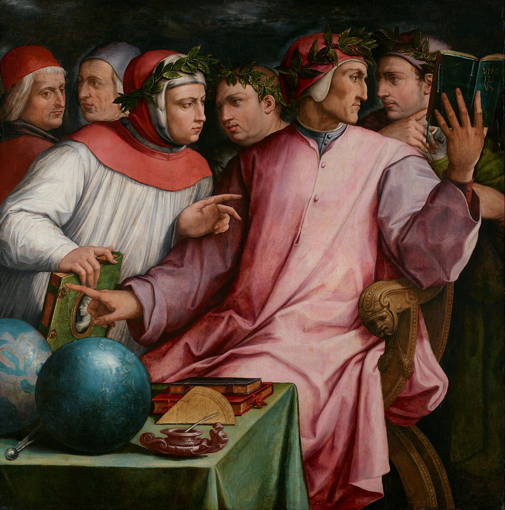 Giorgio Vasari, Sei poeti toscani da destra Cavalcanti Dante Boccaccio Petrarca Cino da Pistoia e Guittone d'Arezzo 1544 Minneapolis Institute of Art Minneapolis