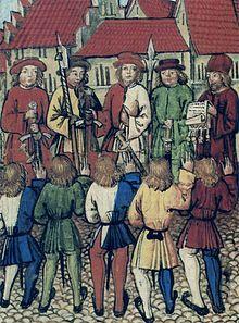 Lo Statuto Federale viene letto a dei cittadini di Zurigo il 1º maggio 1351, mentre giurano fedeltà ai rappresentanti di Uri, Svitto, Untervaldo e Lucerna, 1513