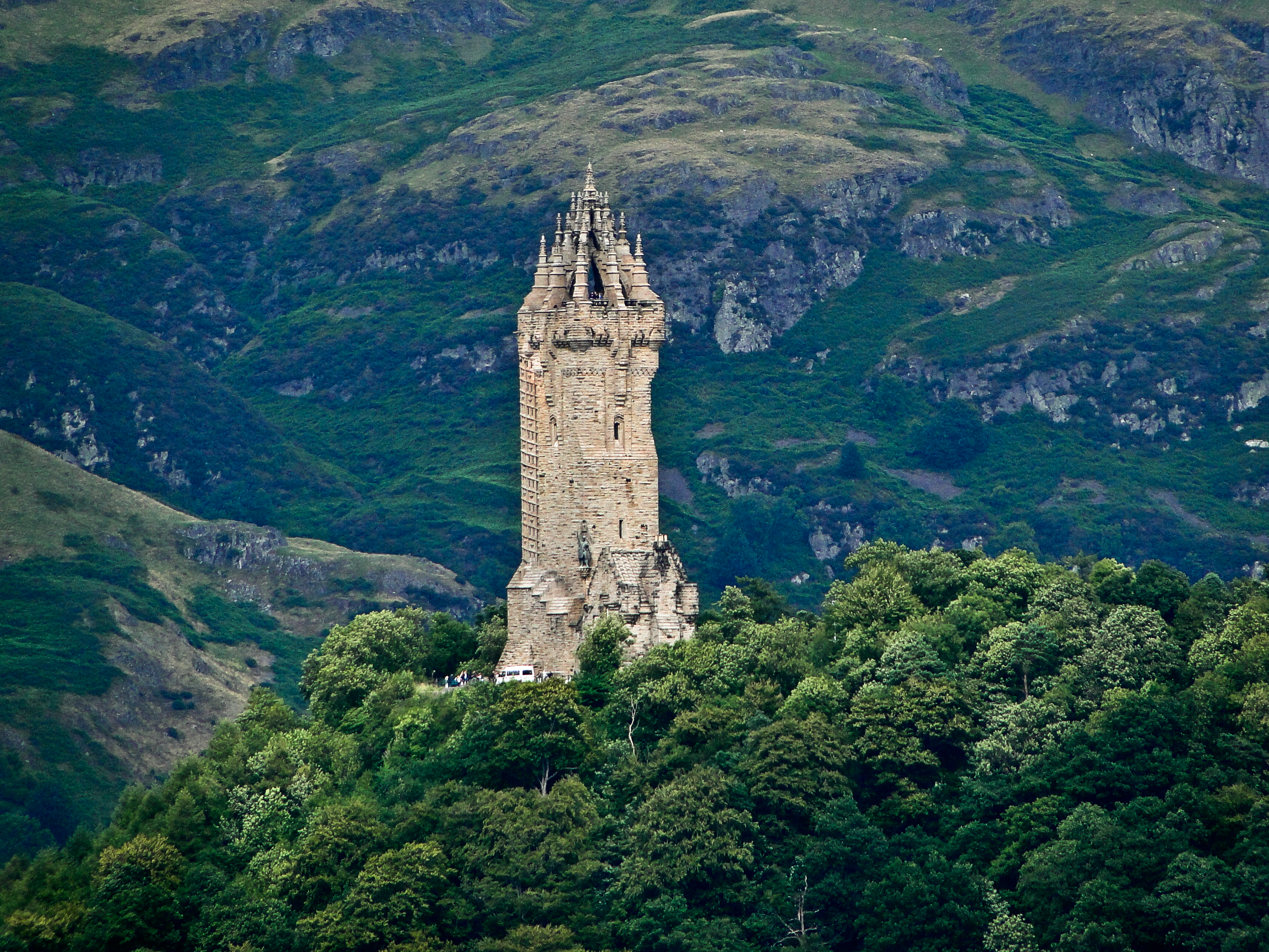 This is Wallace Monument which is visible across the way from one of the courtyards in Stirling Castle