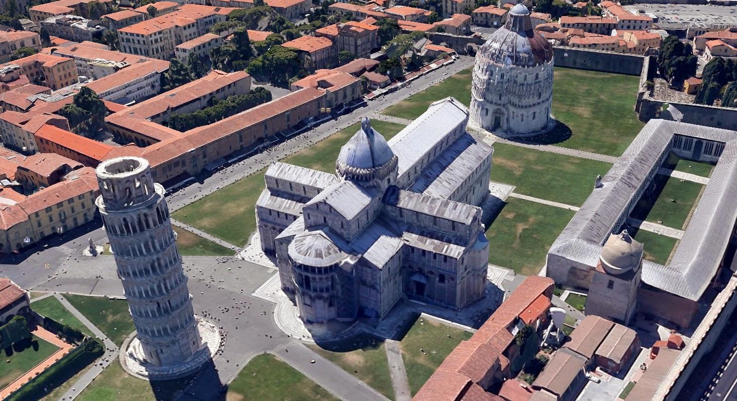 Una visuale dall'alto di Piazza dei Miracoli