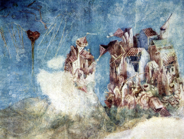 Affresco sul terremoto del 1348 dipinto da M. Wurmster di Strasburgo nel 1362 circa, nel Castello di Karlstein, in Boemia.
