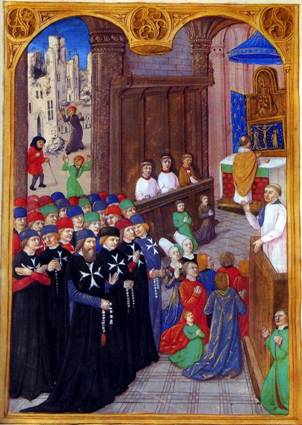 Cavalieri alla messa durante il terremoto del 1481 a Rodi (miniatura da un manoscritto di Guillaume Coursin)