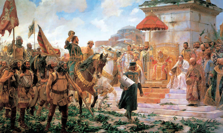 "Josè Moreno Carbonero, ""L'ingresso a Costantinopoli di Ruggero de Flor"", olio su tela del 1888, Palacio del Senado, Madrid"