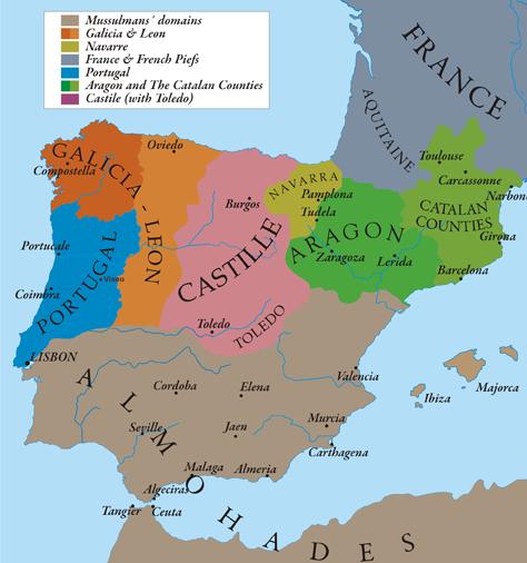 La penisola Iberica e i domini della corona d'Aragona, nel 1210