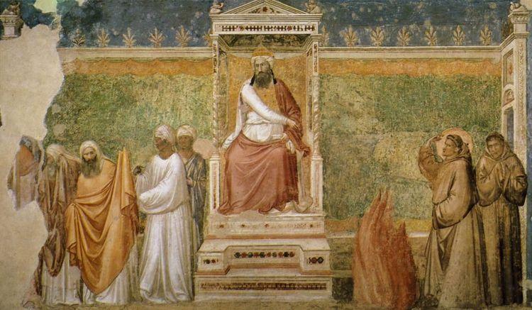 La prova del fuoco davanti al sultano - Giotto, basilica di S. Croce, Firenze