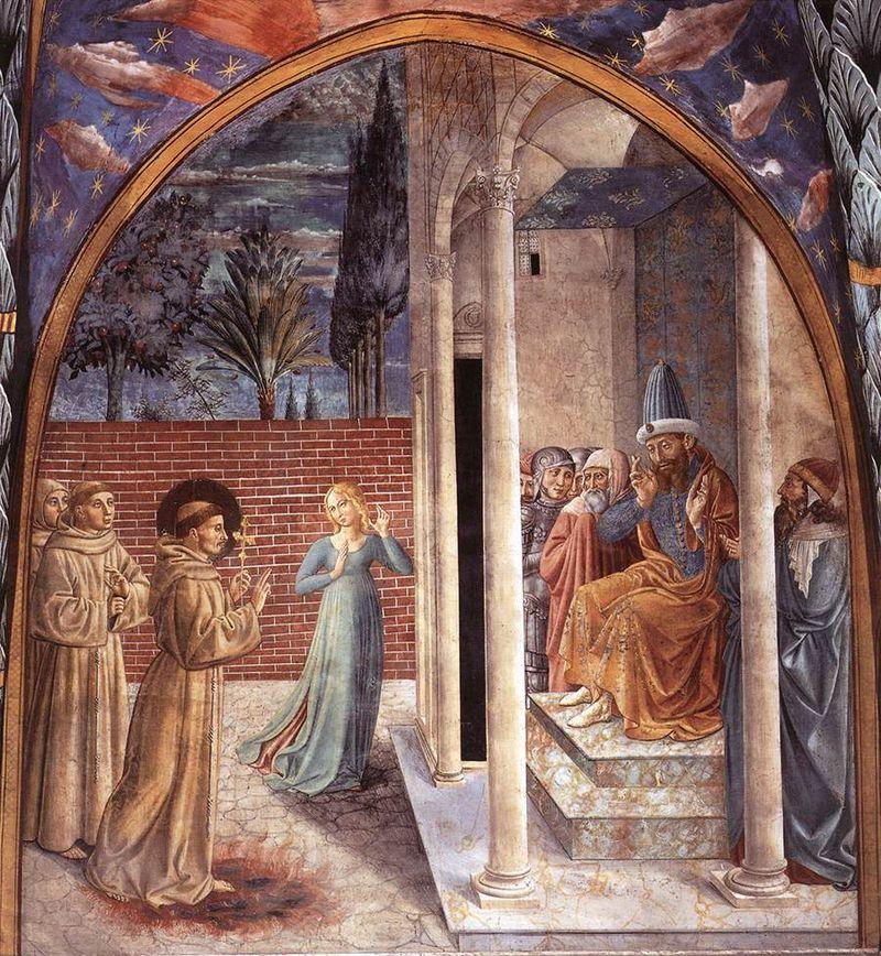 Montefalco, Complesso museale di San Francesco, Benozzo Gozzoli, Francesco d'Assisi e il sultano al-Kamil, una scena del ciclo di affreschi sulla vita del santo