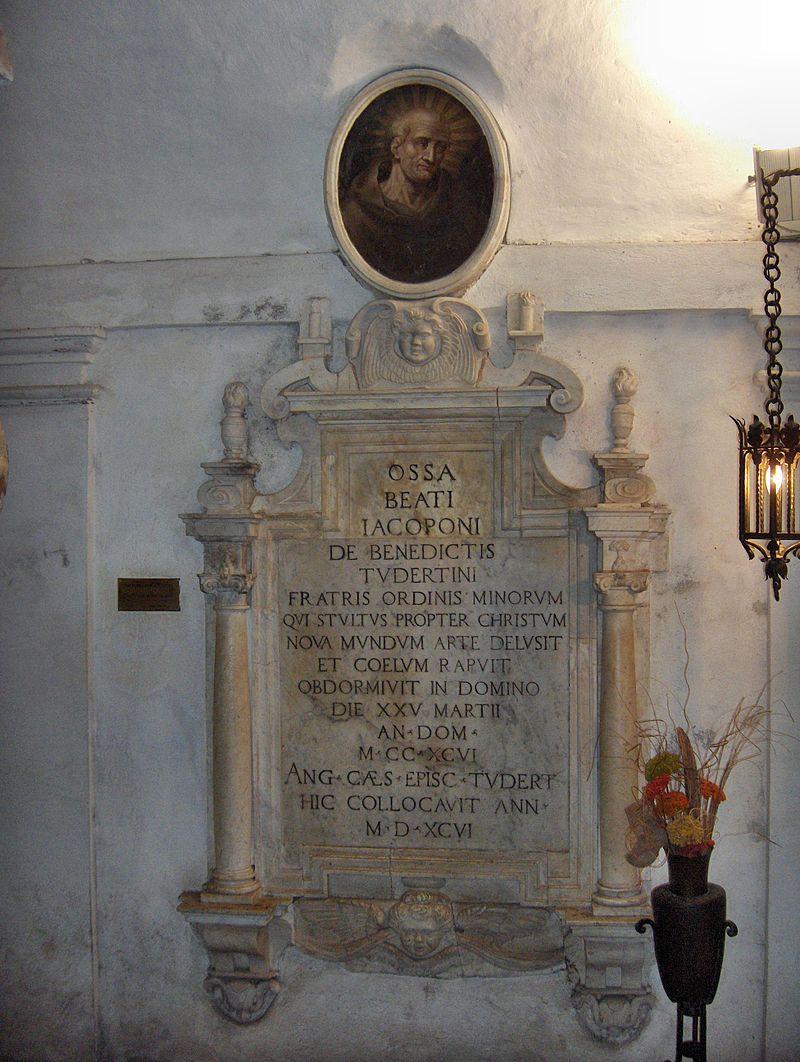 Tomba di Jacopone nella chiesa di San Fortunato a Todi