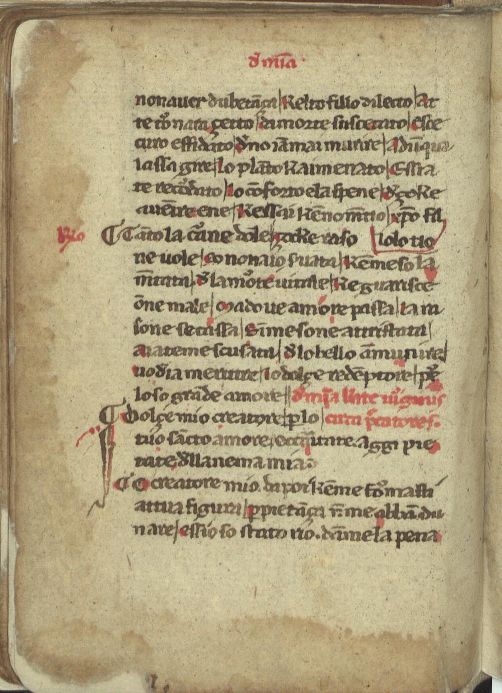 Una pagina della Laude di Iacopone conservata alla Biblioteca Nazionale di Roma