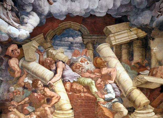 Affresco nella Sala dei Giganti nel Palazzo Tè di Mantova, realizzato da Giulio Romano e Rinaldo Mantovano tra il 1528 e il 1533