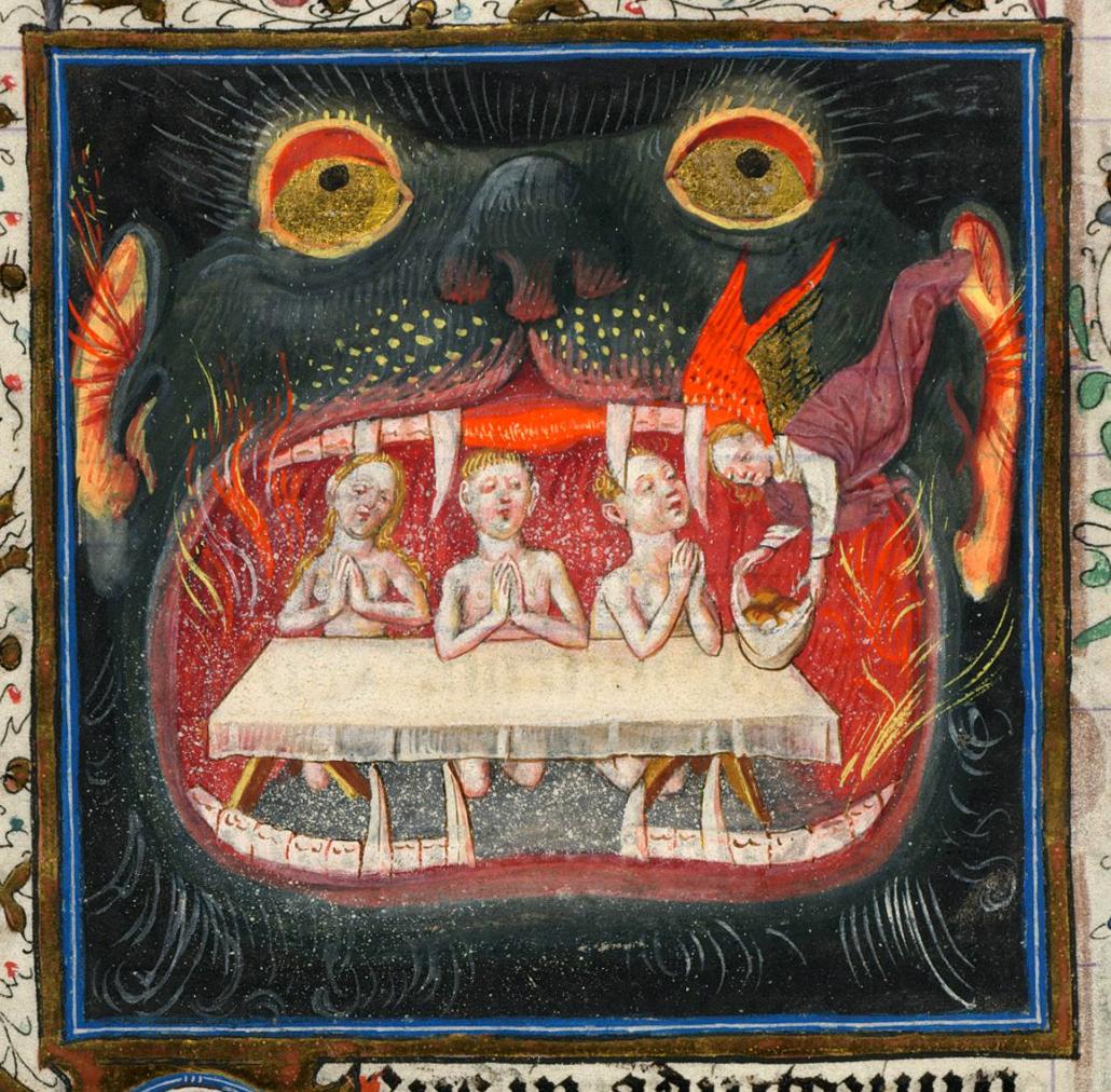 """""""Le anime del Purgatorio si consolano con le offerte"""", miniatura tratta dal 'Libro d'Ore di Cathèrine de Clèves' (1440 circa), Morgan Library & Museum, New York."""