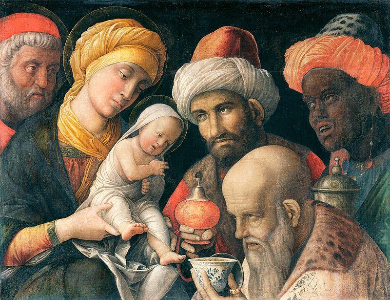 Mantegna, Adorazione dei Magi, particolare. Galleria degli Uffizi, Firenze