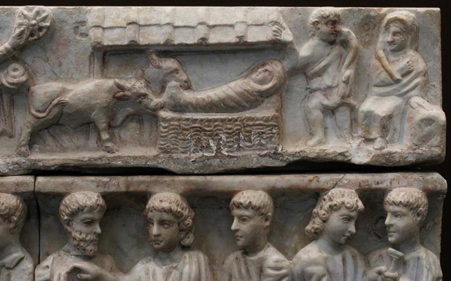 Particolare del sarcofago di Adelfia, Siracusa (330 dopo Cristo)