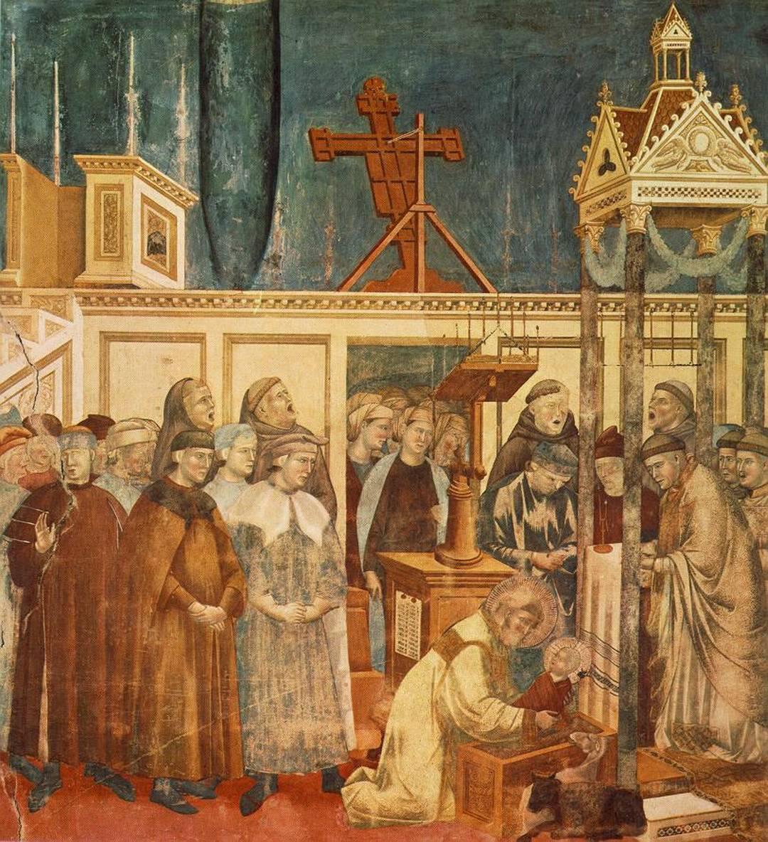 Il presepe di Greccio dipinto da Giotto nella Basilica Superiore di Assisi