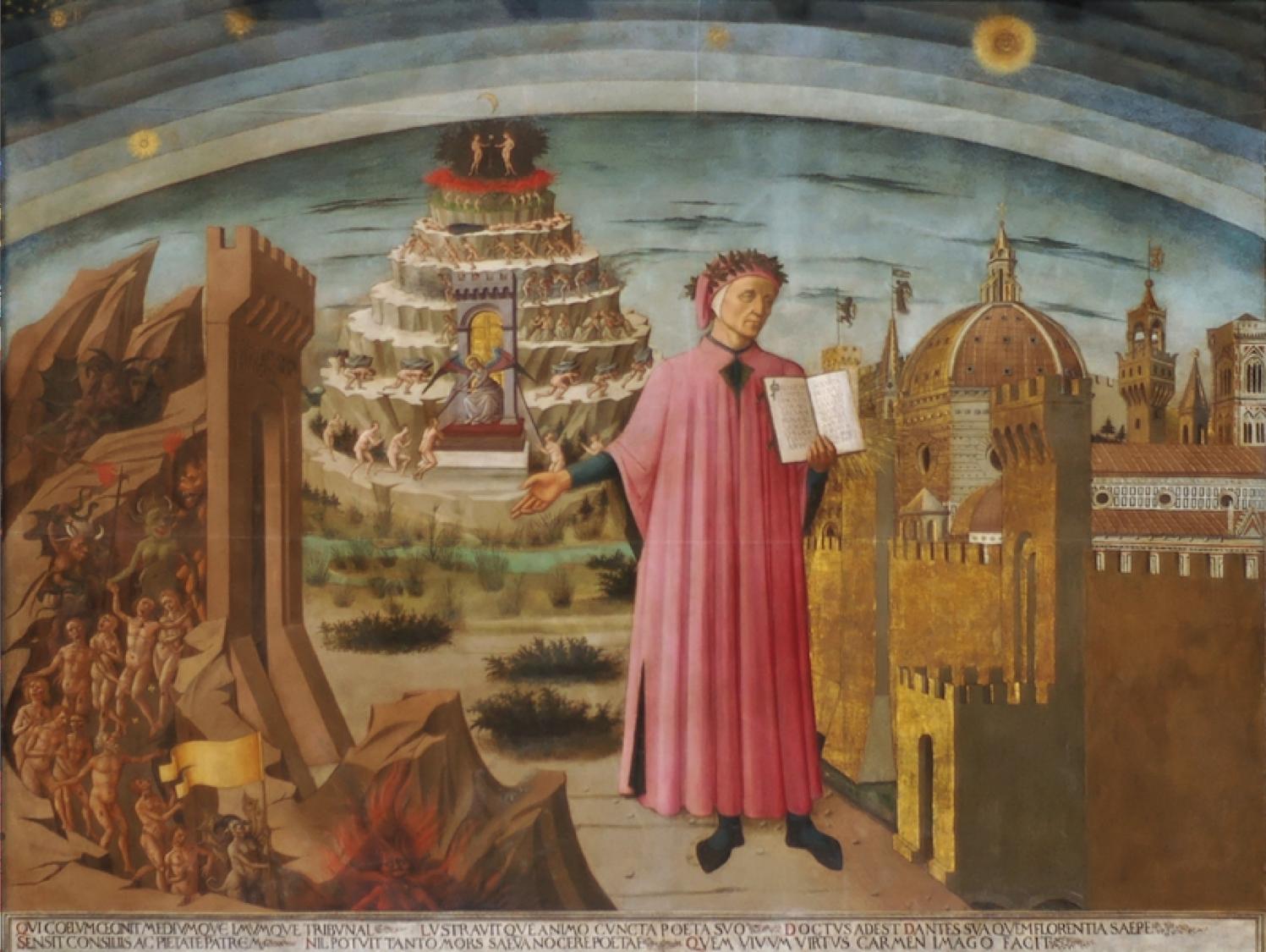 Dante e il suo poema, affresco di Domenico di Michelino nella Cattedrale di Santa Maria del Fiore, Firenze (1465)