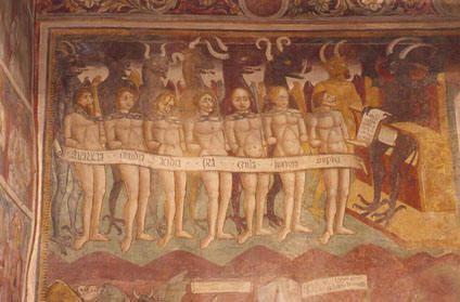 I sette vizi capitali incatenati davanti a Minosse, affreschi della chiesa di San Giorgio, Mandello del Lario