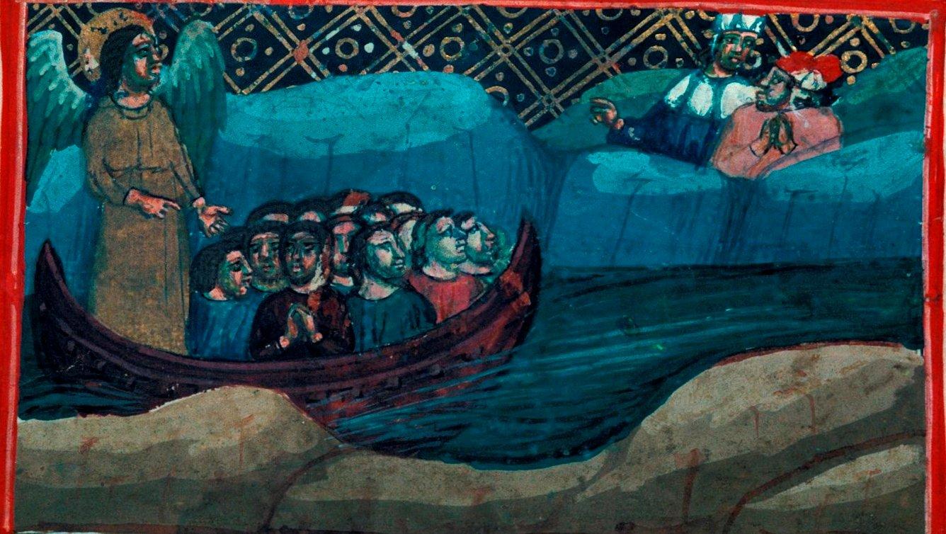 La Navicella del Purgatorio - miniatura dal Purgatorio della Divina Commedia Egerton, f.65v - Bologna, 1340