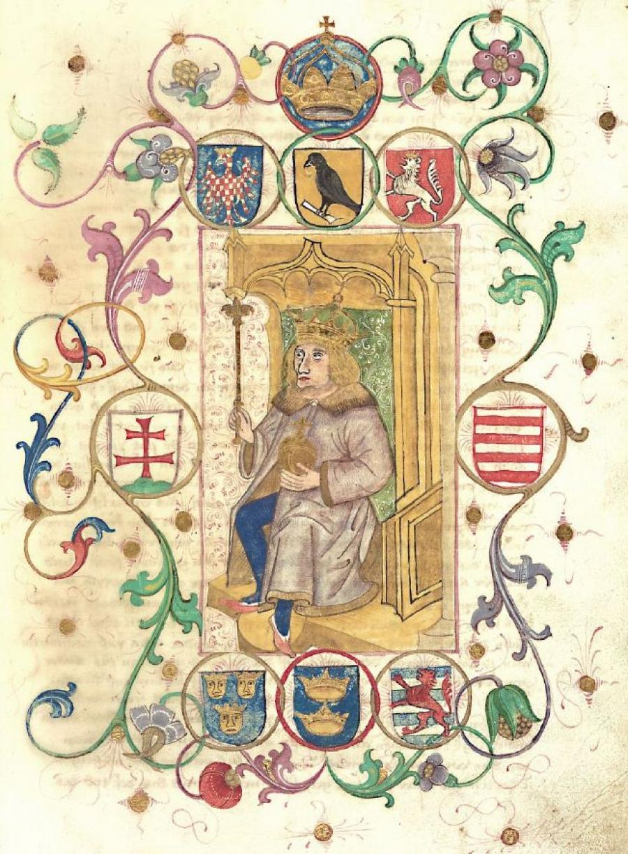 Araldica di Mattia Corvino dipinta su un manoscritto in tedesco di Johannes de Thurocz (1490)