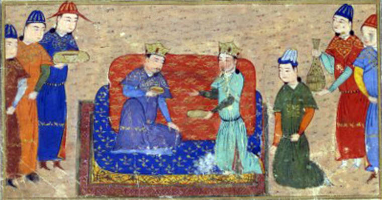 Gengis Khan e Ong Khan, illustrazione proveniente da un manoscritto di Jami al-tawarikh, XV secolo