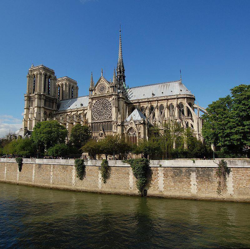 La cattedrale di Notre-Dame de Paris vista dalla Senna