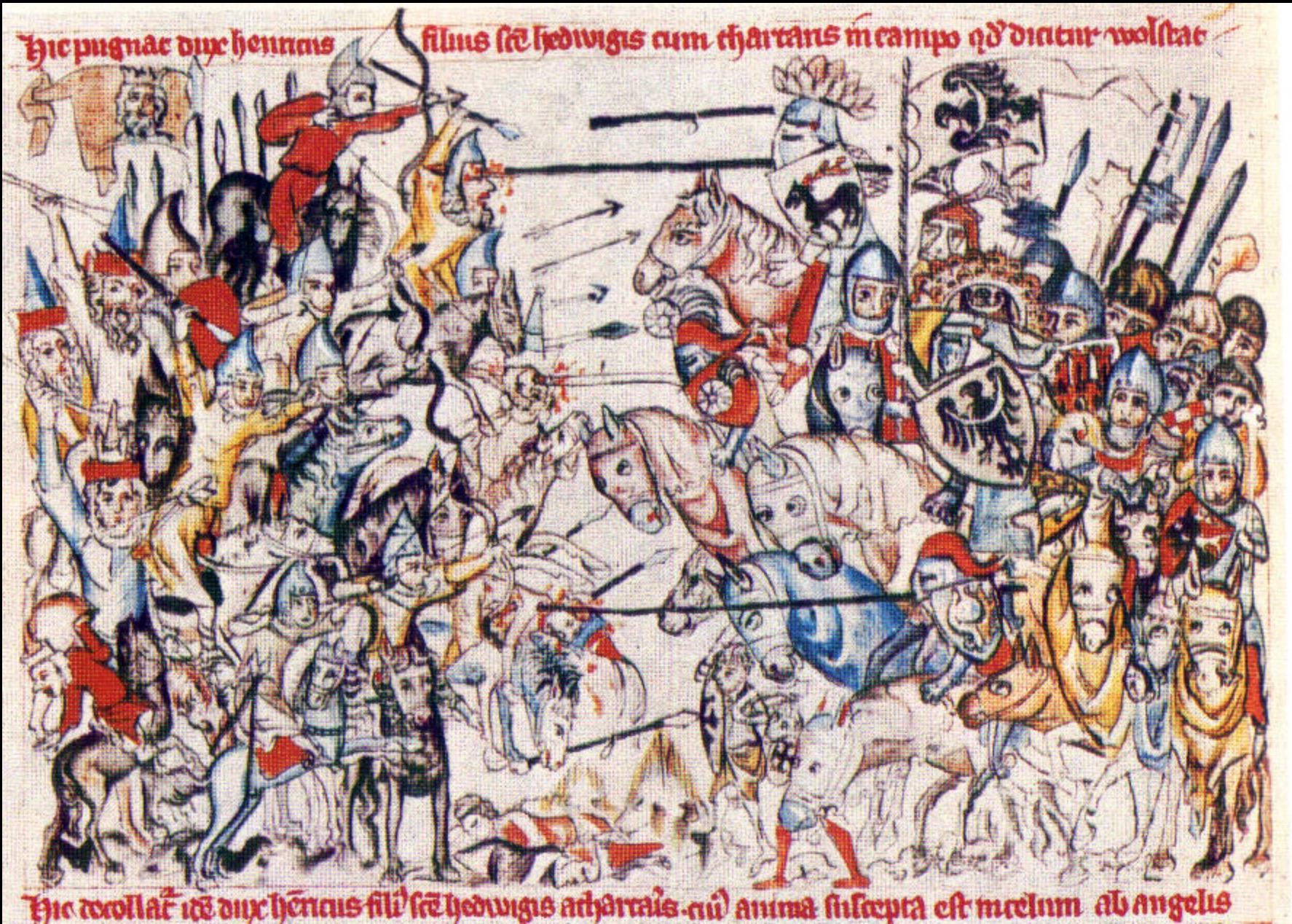 La battaglia di Leignitz in una miniatura d'epoca