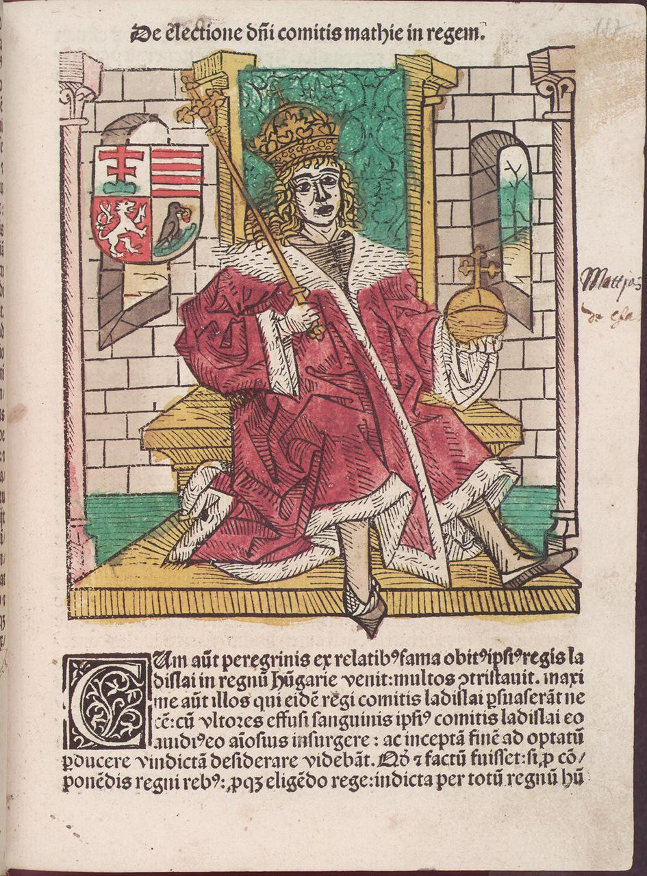 L'immagine di Mattia Corvino riprodotta nella Chronica Hungarorum di Johannes de Thurocz