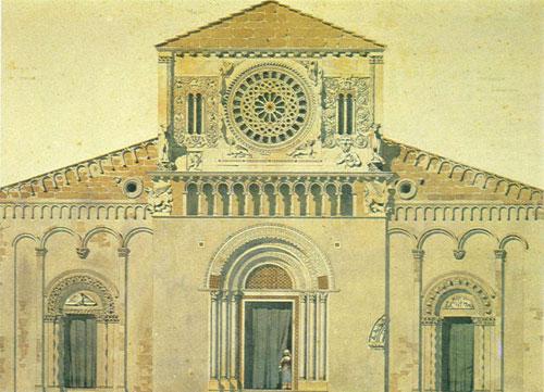 Viollet-le-Duc, disegno della facciata della Chiesa di san Pietro a Tuscania (1837)