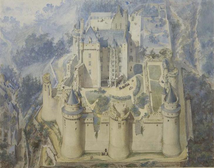 Vue cavalière du château de Un acquarello di Pierrefonds in corso di restauro (Viollet-le-Duc , 1858)