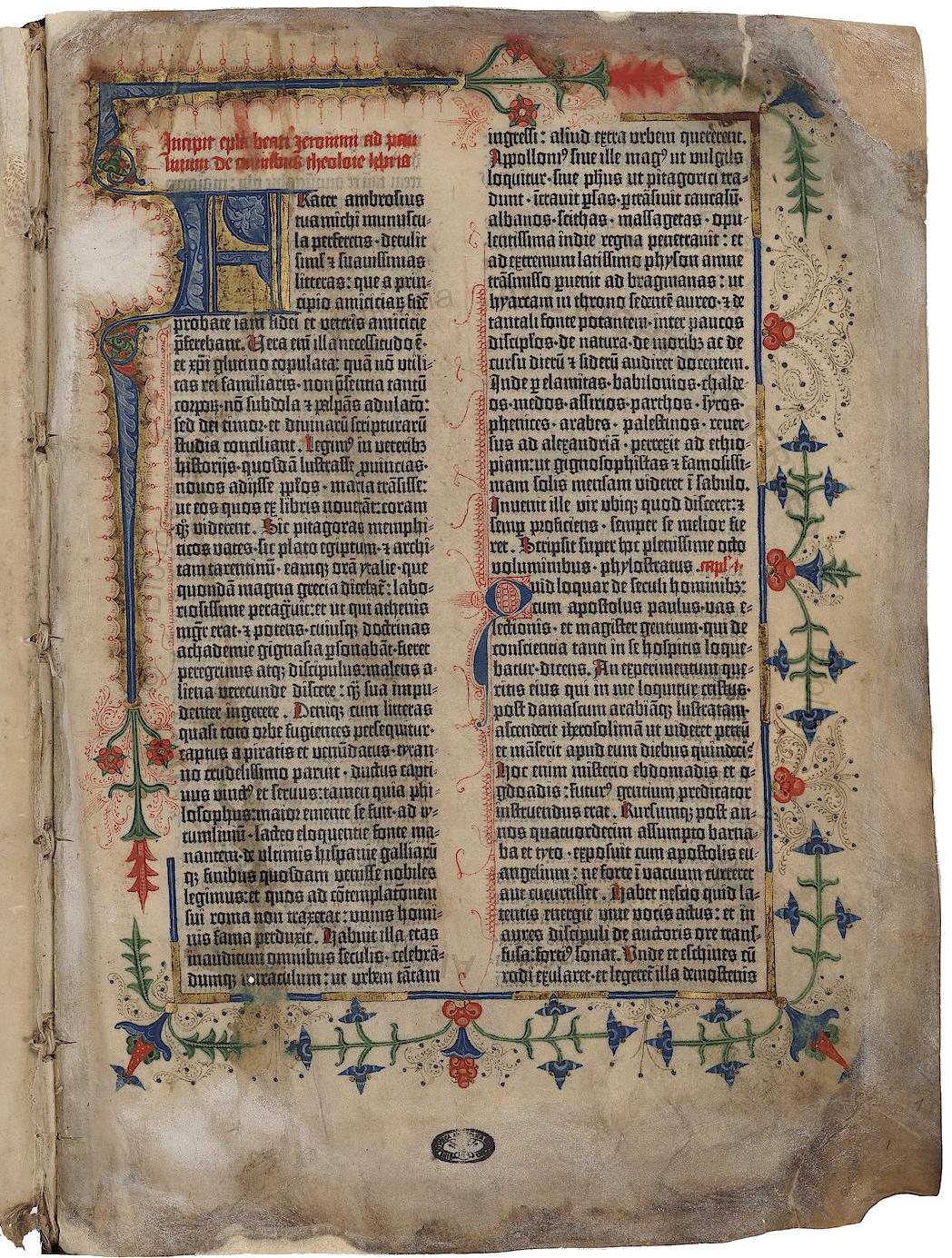 LavBiblioteca apostolica vaticana conserva due copie della Bibbia di Gutenberg, una in pergamena e una in carta