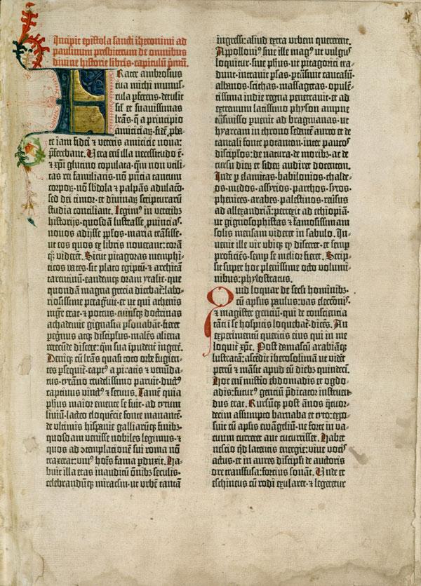 Una pagina dell'Antico Testamento di una delle Bibbie di Gutenberg