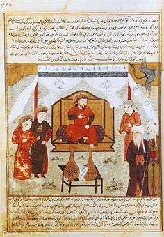 Hulagu Khan sul trono di Bagdad