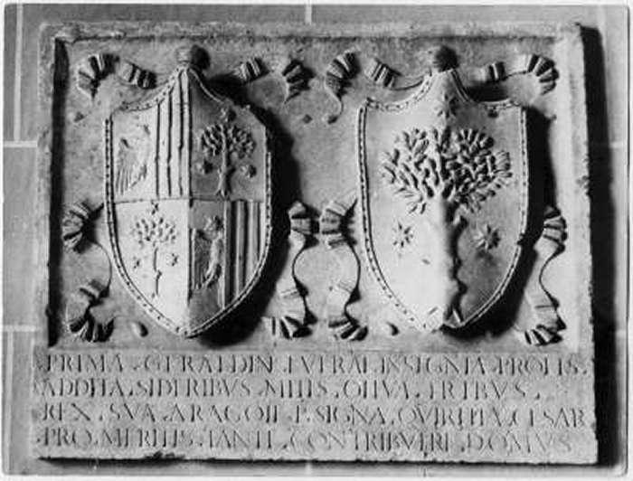 Lo stemma della famiglia Geraldini nel palazzo di famiglia di Amelia