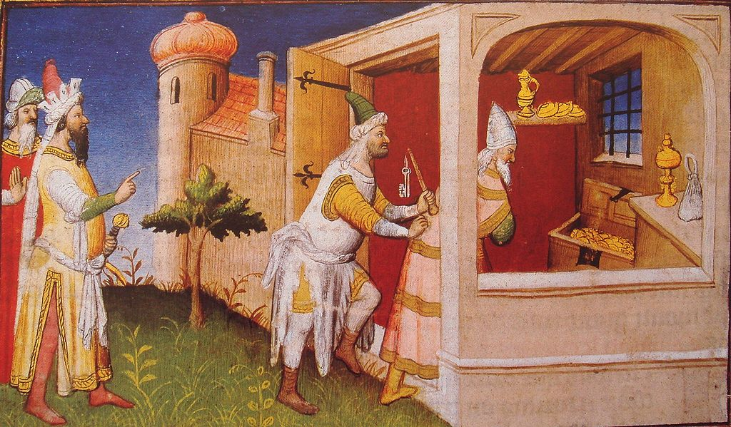 Al-Mustaʿṣim è costretto a consegnare il tesoro califfale nelle mani di Hulegu dopo la presa di Baghdad (illustrazione tratta da Le livre des merveilles, di Marie-Thérèse Gousset)
