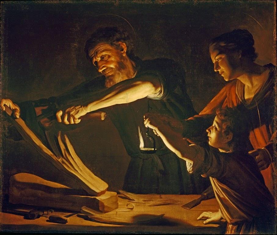 Gerrit van Honthorst detto Gherardo delle Notti,Sacra Famiglia nella bottega di carpenteria di S. Giuseppe, 1610 circa