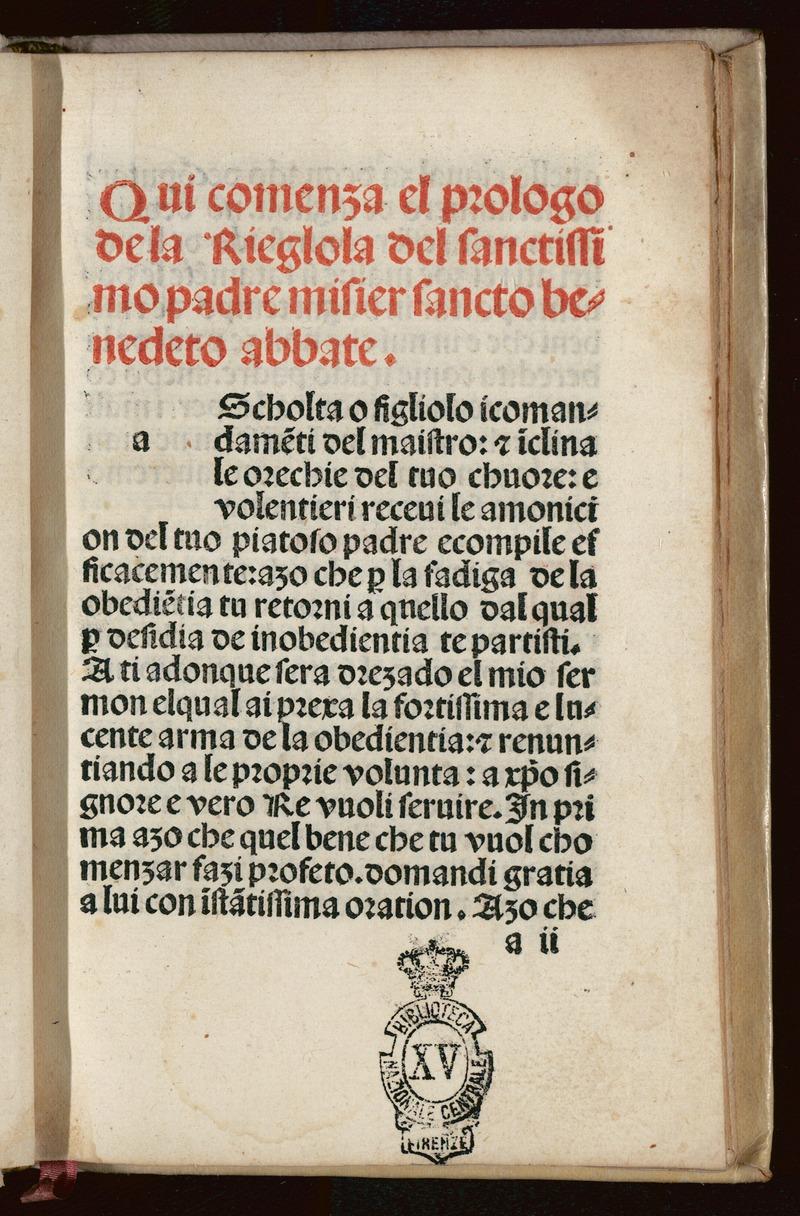 Il prologo della Regula di San Benedetto