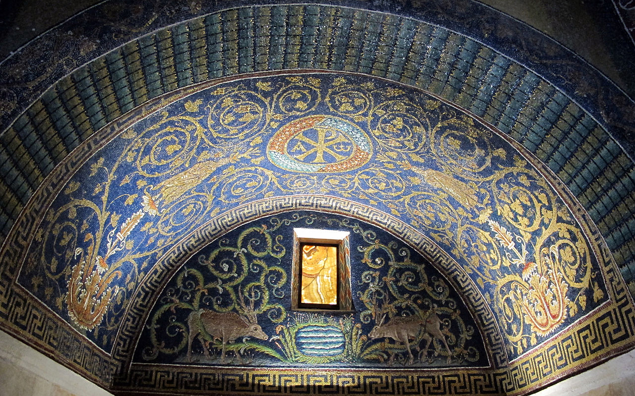 La lunetta dei cervi alla fonte nel mausoleo di Galla Placidia