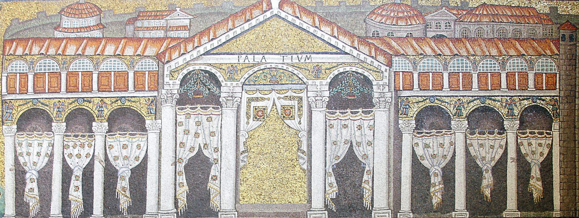 Palazzo di Teodorico a Ravenna in un mosaico della basilica di Sant'Apollinare Nuovo