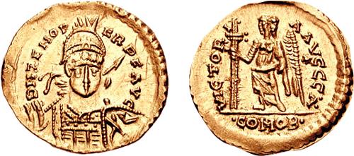 Solido con l'effigie di Odoacre e il nome di Zenone, cui Odoacre era ufficialmente sottomesso