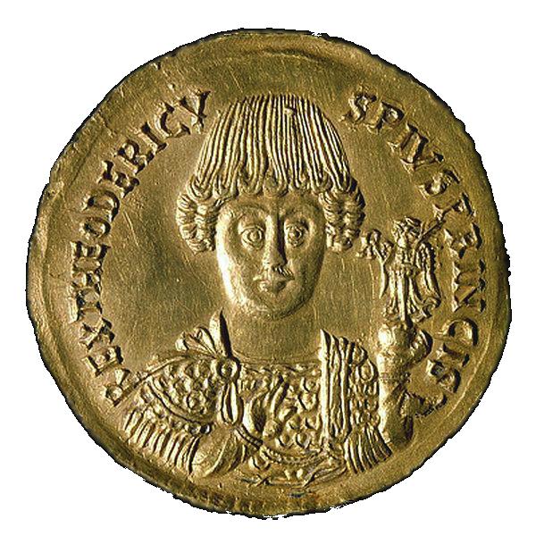 Una moneta con l'effigie di Teodorico