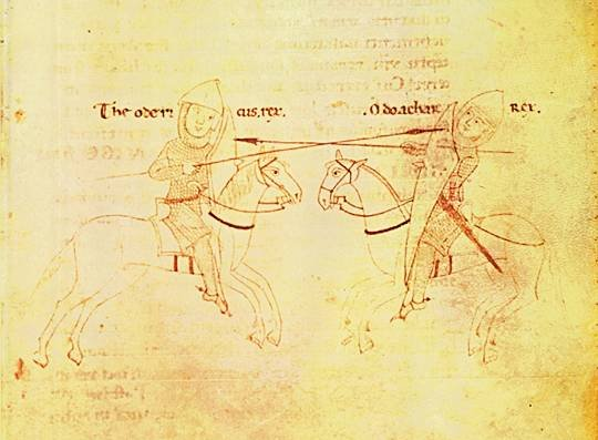 Odoacre e Teodorico Particolare del Codice Palatino Vaticano (XII secolo) conservato nella Biblioteca Apostolica Vaticana. La scena rappresenta il duello tra Teodorico e Odoacre