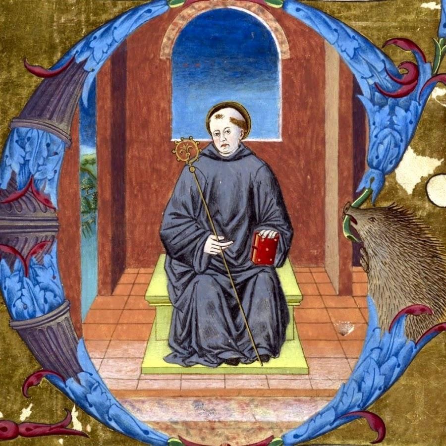 San Benedetto, frammento da graduale (terzo quarto del XV secolo), British Library, Londra